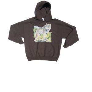 Other - Brown Wolf Drawstring Hoodie